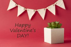 Greeting card for valentines day with text happy valentines day. Red background, garland and a decorative plant succulet. Greeting card for valentines day with stock photos