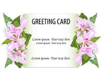 Greeting card vector floral greenery design.Pink,white flowers o vector illustration