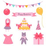 Greeting card. Vector illustration. Nine thing from a little girl`s dream. Stock Photos