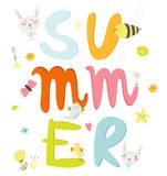 Greeting card with vector Summer typographic Royalty Free Stock Photography