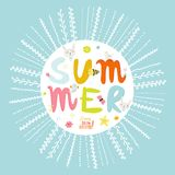 Greeting card with vector Summer typographic Royalty Free Stock Photos