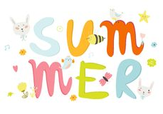Greeting card with vector Summer typographic Royalty Free Stock Images