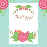 Greeting card vector template. Greeting floral card with place for your text. Possible for invitation, birthday and thank you. Colored hand drawn vector template Stock Photos