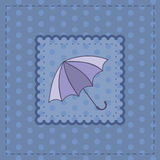 Greeting card with violet umbrella Stock Image