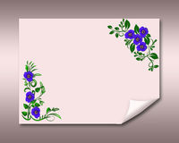 Greeting card with violets. Violets on a folded paper Royalty Free Stock Images