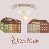 Greeting card from Warsaw. With set of vintage buildings Royalty Free Stock Photos