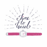 Greeting card with watch about travel, vacation, adventure. Royalty Free Stock Images