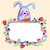 Greeting card with a watercolor cartoon rabbit and flowers and f Stock Photo