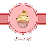 Greeting card with watercolor cupcake Royalty Free Stock Images