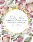Greeting card with watercolor flowers background Vector. Golden abstract round shape frame. Invitation card, wedding vector illustration