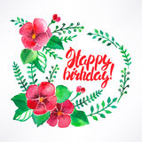 Greeting card with watercolor flowers Stock Image