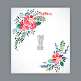 Greeting card with watercolor flowers Stock Photos