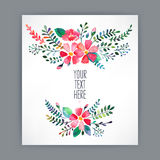 Greeting card with watercolor flowers - 4 Stock Image