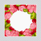 Greeting card with watercolor frame of pink peony Stock Images