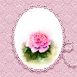 Greeting card with watercolor rose Royalty Free Stock Image