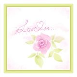 Greeting card with watercolor roses Stock Photos