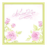 Greeting card with watercolor roses Stock Images
