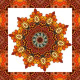 Greeting card or wedding invitation with flower - mandala in indian style. Lovely tablecloth, shawl, beautiful blanket, festive pillowcase, carpet. Print for Royalty Free Stock Photo