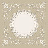 Greeting card or wedding invitation, mono line. Vector mono line frame. Elegant monogram design template Royalty Free Stock Image