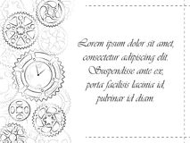 Greeting postcard with gears and clock. Greeting card or wedding invitation template. Clocks and gears black contour stylish design invite postcard. Elegant Royalty Free Stock Photography