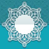 Circle wedding card with cutout lace border. Greeting card or wedding invitation template with ornate lace edge, round doily with lacy border, cutout paper Stock Photos