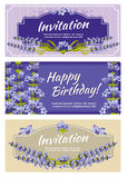 Greeting card, wedding invitation vector template with lavender flowers Stock Photography