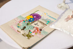 Greeting card on a wedding. White greeting card on a wedding Stock Photography