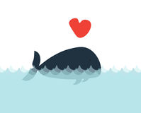 Greeting card with a whale in love. Valentines day background Stock Photo