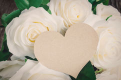 Greeting card with white artificial rose Royalty Free Stock Images