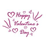 Greeting card on white background with pink hearts and flowers. Logo with a happy day`s label Valentine`s Day on holiday in February Royalty Free Stock Photography