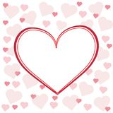 Greeting card on white background with pink hearts. Logo on holiday in February valentine`s day Stock Images