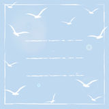 Greeting card with white birds silhouettes on blue sunny sky. Royalty Free Stock Image