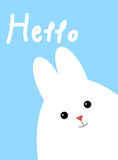 Greeting card with white cute rabbit. Funny Easter bunny. Royalty Free Stock Images