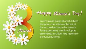 Greeting card with white daisies. On a green background to an international women`s day on March 8 Stock Image