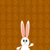 Greeting Card with  White Easter Rabbit. Royalty Free Stock Photos