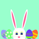 Greeting card with white Easter rabbit and easter eggs Royalty Free Stock Photography