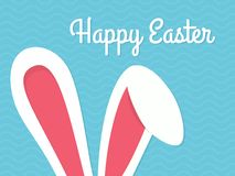 Greeting card with with white Easter rabbit. Funny bunny. Easter Bunny. Stock Photography