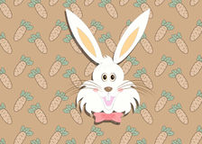 Greeting card with with white Easter rabbit. Stock Photos