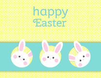 Greeting card with with white Easter rabbit. Funny bunny. Easter Bunny. Royalty Free Stock Images