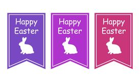 Greeting card with with white Easter rabbit. Funny bunny. Easter Bunny. Stock Images