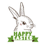 Greeting card with with white Easter rabbit. Funny bunny Royalty Free Stock Photos