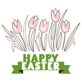 Greeting card with with white Easter rabbit. Funny bunny Stock Images
