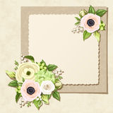 Greeting card with white and green flowers. Vector eps-10. Vector greeting card with white and green roses, anemones, ranunculus, hydrangea and lily-of-the Royalty Free Stock Photography