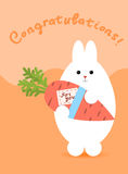 Greeting card with white hare. Rabbit stands and holds a carrot Stock Photo