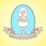 Greeting card whith nursing woman. Royalty Free Stock Images