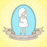 Greeting card whith pregnant woman. Stock Photography