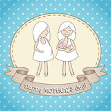 Greeting card whith two women. Royalty Free Stock Images