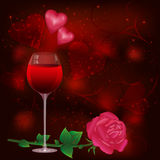 Greeting card with wine glass and rose Stock Images