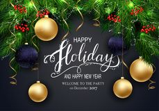 Greeting Card for Winter Happy Holidays Cards with Fir Tree Brunch and 3D Baloons. Holidays Greeting Card for Winter Happy Holidays. Fir-tree Branches frame Stock Photo