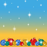 Greeting card for the winter holidays. Below a number of bright Christmas tree balls, with snowflakes and stars. Vector background Royalty Free Stock Image